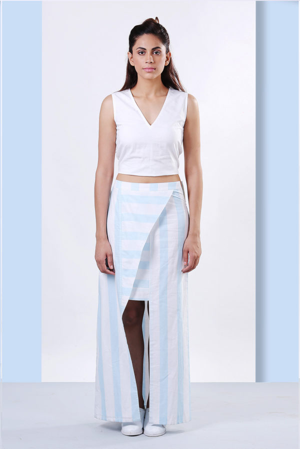 Overlap Stripped Skirt (EC04)