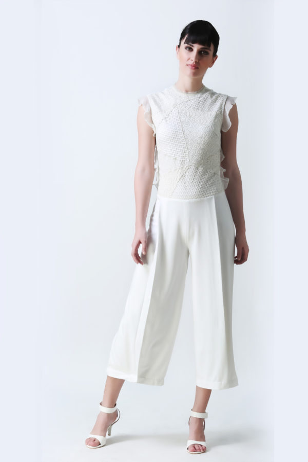 White Cropped Jumpsuit (SKU:Ech03)