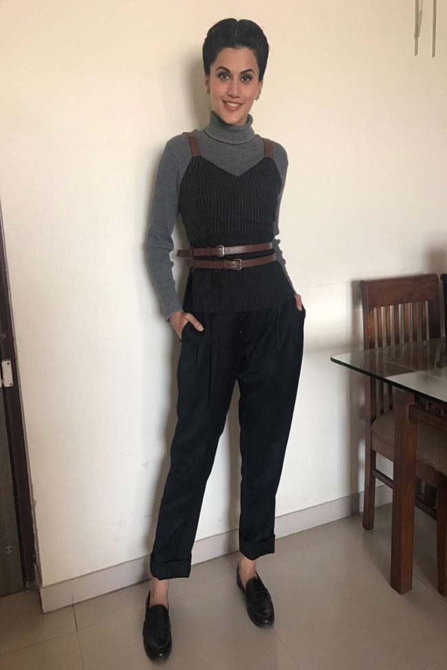 Tapsee Pannu in quilted vest and tappered trousers