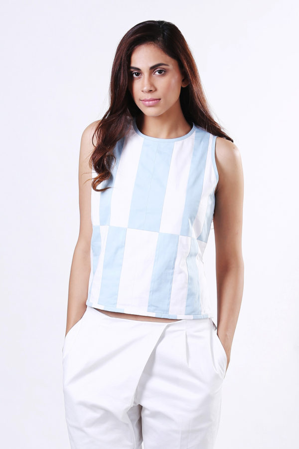 Patched Blue White Top (SKU:EC03)