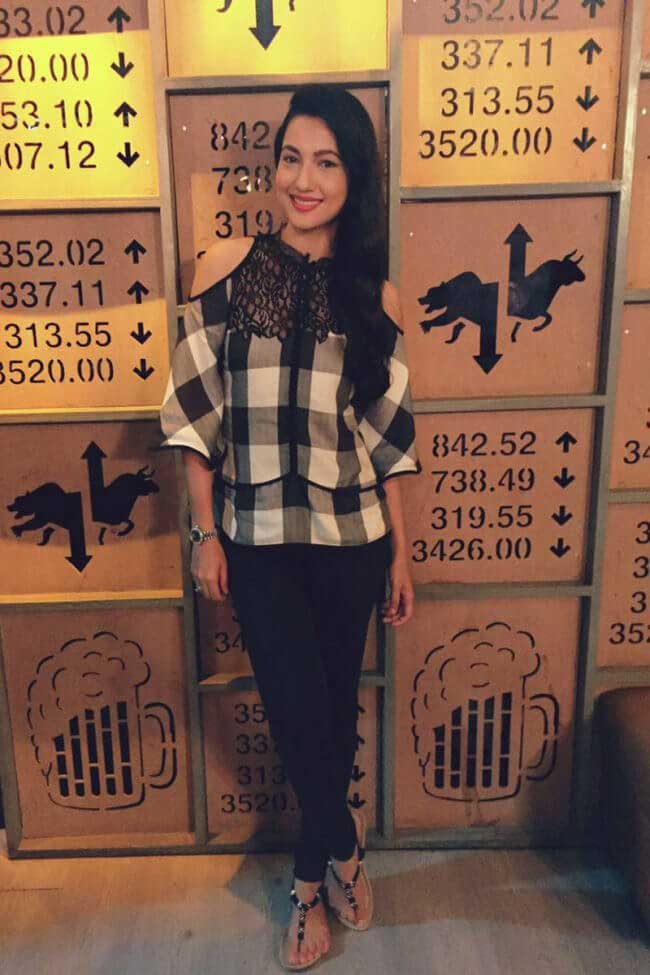 Gauhar Khan in Checked Top