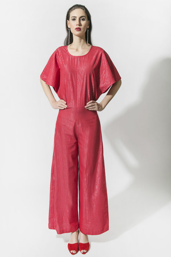 Red Lurex Stripe Jumpsuit (SKU : ES1811)