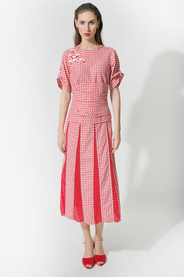 Red Gingham Dress (SKU: ES1802)