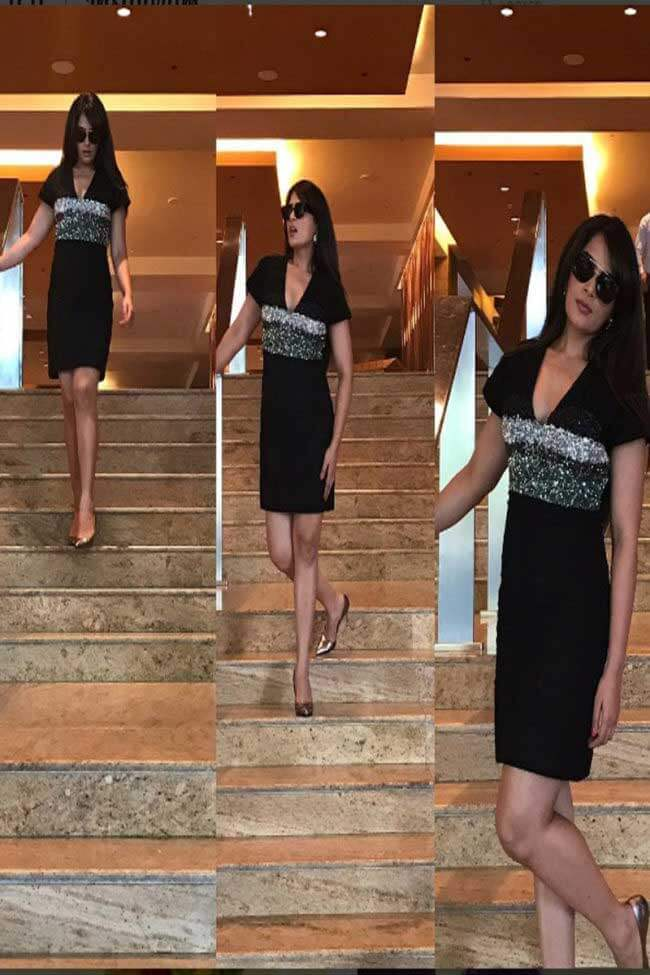 Richa Chadha in sequin bodice dress