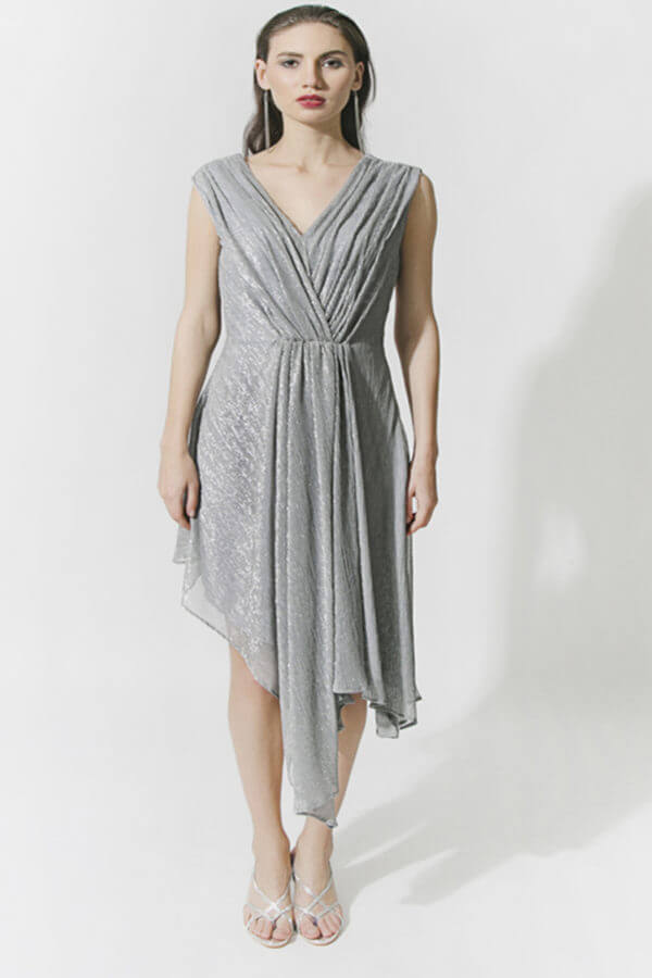 Silver Pleated Dress (SKU : ES1805)